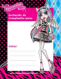 Invitaciones De Cumpleanos Para Imprimir Monster High Etiquetas