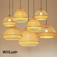 hand knitted bamboo pendant lamp wood