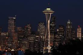 Seattle Skyline At Night Wallpaper Wall Mural Self Adhesive Contemporary Wall Decals By Magic Murals Llc