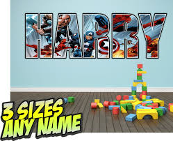 Personalised Kids Lego Heroes Marvel Avengers Name Wall Decal Stickers 3 Sizes Kids Room Decals Name Wall Decals Lego For Kids