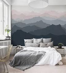 Mountain Mural Wallpaper Grayish Navy Pale Pink Mountain Etsy