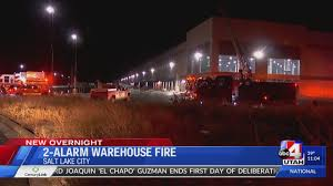 slc warehouse fire with 40 foot flames