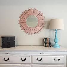 wooden shim rose gold starburst mirror
