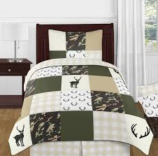 Green And Beige Deer Buffalo Plaid Check Woodland Camo Boy Twin Kid Childrens Bedding Comforter Set By Sweet Jojo Designs 4 Pieces Rustic Camouflage Only 99 99