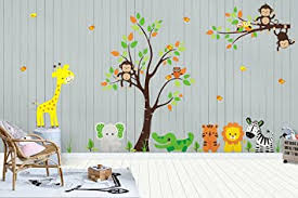 Amazon Com Nursery Wall Decals Baby Room Stickers Jungle And Safari Theme Kids Room Decorations Baby Wall Prints Kids Art Nursery Styling Nursery Ideas Kids Room Stuff Brother Sister Baby