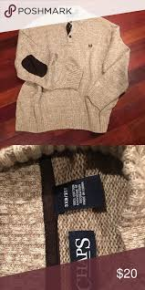 chaps men s sweater with faux leather