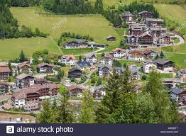 View of Santa Cristina village in Val Gardena, Italy Stock Photo ...