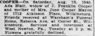 Obituary for Ada COOPER - Newspapers.com
