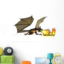 Amazon Com Wallmonkeys Dragon Breathing Fire Wall Decal Peel And Stick Decals For Boys 48 In W X 30 In H Wm174971 Home Kitchen