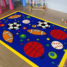 Shop Allstar Kids Baby Room Area Rug Sports Football Basketball Soccer And Baseball Bright Blue Colors 7 3 X 10 2 Overstock 11670136