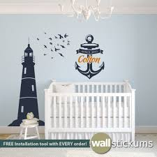 Nautical Set Lighthouse Flock Of Birds And Anchor With Custom Name Birth Year Wall Decal Nautical Wall Decals By Wallstickums Com