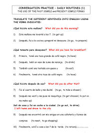 DIALY ROUTINES. TRANSLATE FROM SPANISH TO ENGLISH - English ESL Worksheets  for distance learning and physical classrooms