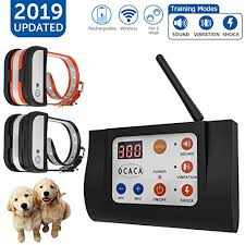 Ocaca 2019 Updated Remote Dog Training Collars With Wireless Dog Fence 2 In 1 System Outdoor Adjustable Sound Vibration Shock Function Waterproof Rechargeable Harmless For All Dogs 2 Collars Lucky466 Online Sales