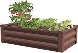 Amazon Com Greenes Fence Powder Coated Metal Raised Garden Bed Planter 24 W X 48 L Kitchen Dining