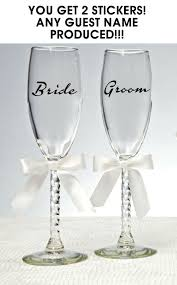 2x Personalised Name Wedding Wine Glass Stickers Glasses Decal For Sale Online Ebay