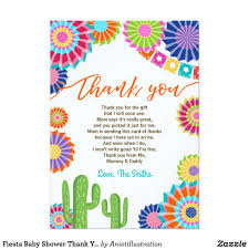 Fiesta Baby Shower Thank You Card Mexican Cactus Zazzle Com