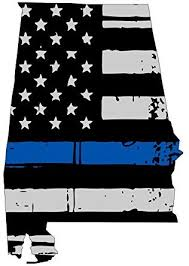 Amazon Com Alabama Tattered Thin Blue Line Us Flag Honoring Our Men Women Of Law Enforcement Car Symbol Sticker Decal Die Cut Vinyl Window Computer Made And Shipped In Usa Automotive