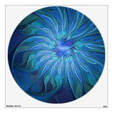 Blue Flower Fantasy Pattern Abstract Fractal Art Wall Decal Zazzle Com