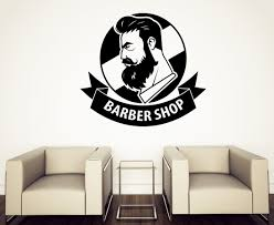 Wall Stickers Vinyl Decal Barber Shop With Ribbon Logo Haircut Men Salon N679 Barber Shop Vinyl Wall Stickers Vinyl Decals