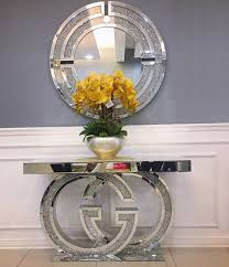 sparkly silver mirrored console table