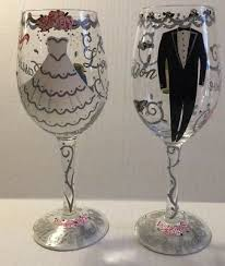 bride and groom painted wine glass