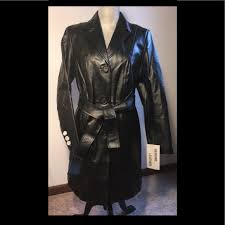metrostyle womens belted leather coat