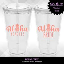Aloha Beaches Decals Set Of 10 For Wine Glasses Tumblers Stadium Cups And More