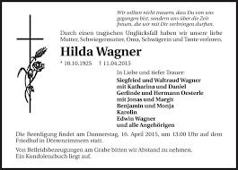 Traueranzeigen von Hilda Wagner | www.trauerundgedenken.de