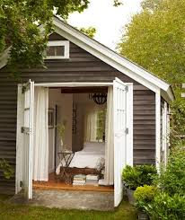 a shed turned guest suite backyard