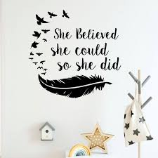 Girls Room Decor Feather Print Wall Decal Inspirational Quote Wall Sticker Feather Birds Wallpaper Home Design Wall Mural Wish