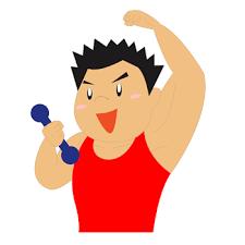 筋トレをする男性イラスト【ダンベル体操】