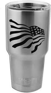 Amazon Com Patriotic Waving American Usa Flag Vinyl Sticker Decal For Yeti Mug Cup Thermos Pint Glass 4 Wide Decal Only No Cup Automotive
