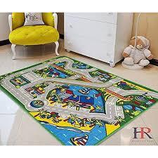 Kids Car Road Rugs Harbor Map Play Mat For Classroom Baby Room Non Slip Rubber Back Walmart Com Walmart Com