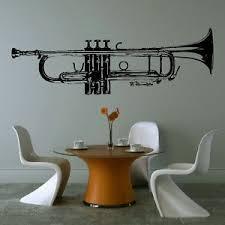 Huge Trumpet Music Wall Art Graphic Sticker Tuning Giant Stencil Vinyl Mural Mu3 Music Wall Music Wall Art Music Wall Decal