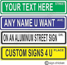 Custom Personalized Street Signs Kid S Decor Garage Sign Road Sign Monogram Ebay