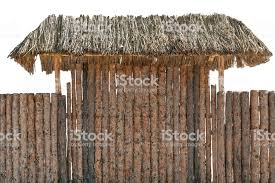 Round Timber Wooden Log Fence Isolated On White Hay Roof Or Awning Over Entrance Gate Stock Photo Download Image Now Istock