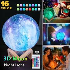 3d Printing Lava Moon Lamp Galaxy Moon Light Kids Room Night Light 16 Color Change Touch And Remote Control Galaxy Light Gifts Wish