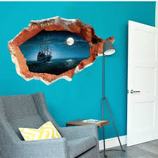 Corsair 3d Fake Window Wall Sticker Peace Sea With Moon Wall Decal Vinyl Stickers For Kids Rooms Sitting Room Art Home Decor Sticker Vinyl Stickers Japanstickers Clear Aliexpress