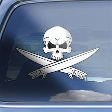 Surfer Skull Crossbones Decal Sticker Surfing Window Decal Etsy