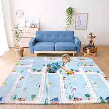 Amazon Com Bammax Play Mat Foldable Baby Playmat Waterproof Reversible Kids Crawling Mat Extra Large Foam Floor Gym Activity Play Mat Nontoxic Portable Tummy Time Playroom Mat For Infant Toddler 70x78x