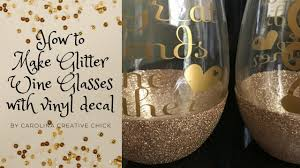 How To Make Glitter Wine Glasses With Vinyl Decal Youtube