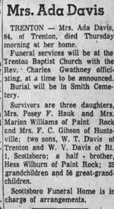Obituary for Ada Davis (Aged 84) - Newspapers.com