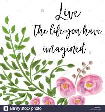 beautiful life quote floral watercolor background stock photo