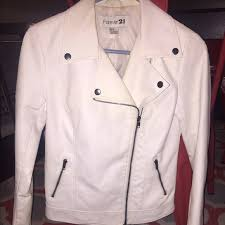 faux leather white moto jacket
