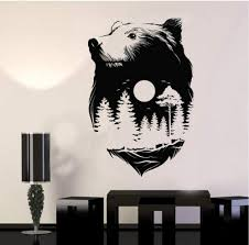 Amazon Com Iofjs Cool Tree Vinyl Wall Decal Sticker Animals Bear Full Moon Nature Forest Wood Midnight Wall Decor Removable Art Mural 56x85cm Kitchen Dining