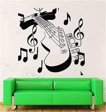 Amazon Com Quotes Art Decals Vinyl Removable Wall Stickers Guitar With Notes Music Rock Rock N Roll Home Kitchen