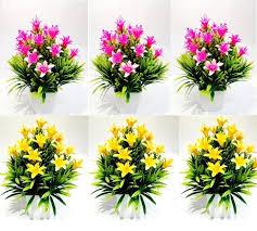 Buy Multicolor Artificial Flower Small Bonsai Plants Set Of 6 PCs ...