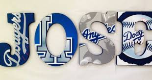 Personalized Wooden Wall Letters For Kids Rooms Los Angeles La Dodgers Baseball Sports Theme On Etsy 10 0 Wooden Wall Letters Letters For Kids Letter Wall