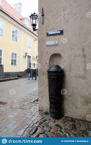 Riga Latvia November 2019 The Barrel Of The Old Gun Protects The Corner Of The Building From The Impact Of Vehicles Editorial Stock Photo Image Of City Embedded 165229928