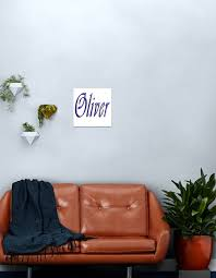 Oliver Boys Name Blue Cursive Name Logo Metal Print By A Work Of Art Redbubble
